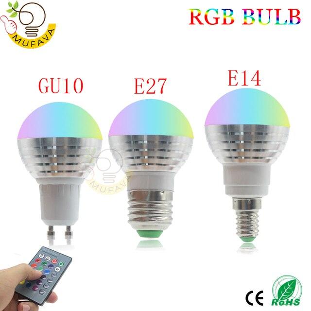 E27 E14 หลอด LED RGB 16 สี Magic LED Night Light 85 265V หลอดไฟ LED หรี่แสงได้ STAGE LIGHT/24key รีโมทคอนโทรล Holiday ไฟ