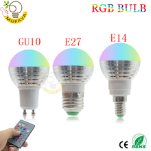E27 E14 RGB LED bulb 16 Color Magic LED Night Light 85 265V led Lamp Dimmable Stage Light / 24key Remote Control holiday lights