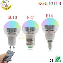 E27 E14 rgb led 電球 16 色マジック led ナイトライト 85 265 v led ランプ調光可能なステージライト/24key リモコン休日ライト