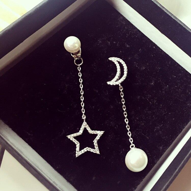 Асимметрия Дизайн Moon уха линии с жемчужной подвеской пятиконечная звезда кулон мотаться Brincos AAA кубической Zironia Jewel женщины