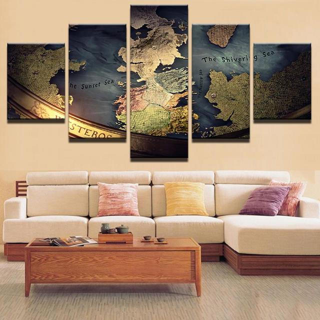 5 Panel Framed HD Printed Vintage World Map Wall Art Picture Modern ...