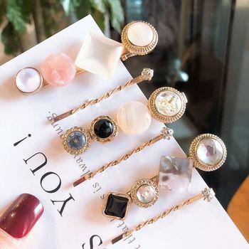 2Pcs/Set Jewelry Decorative Spiral One Word Hairpin Women Imitation Diamond Beaded Faux Marble Hair Clip Retro Duckbill Barrette