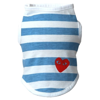 Sweet Pet Dog Clothing Wear-resisting T Shirt Pet Dog Casual Striped T Shirt Cotton Vests with Love Heart Pattern for Puppy