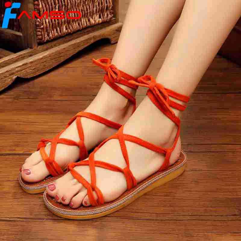 d6029be405feb9 FAMSO 2018 New Women Sandals black red Summer Flip Flops Cotton Fabric Cross -Strap China