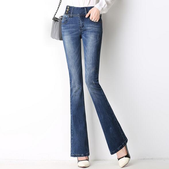 New women Slim Fit high Waist Flare Jeans Plus Size Stretch Jeans ...
