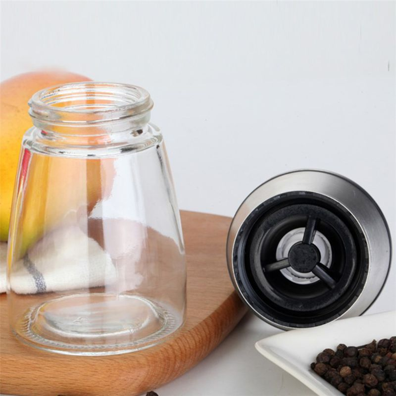 2pcs Manual Pepper Grinders Kit Salt Mill Bottle Seasoning Spices Condiment Jar Holder Kitchen Tools in Mills from Home Garden