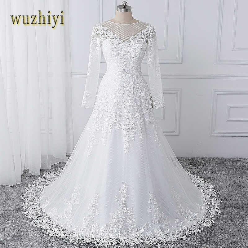 25ab14d5e579108 ... Wuzhiyi vestido de noiva Свадебные платья с вырезом лодочкой Свадебная  Кружевная аппликация платье на молнии сзади