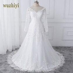 wuzhiyi vestido de noiva Boat neck wedding dresses lace applique wedding gown Zipper back buttons marriage Gown robe de soiree 6