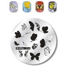 New! 1 Pc Butterfly Pattern Nail Stencils ZJOYS-058# 5.6 cm Stamping Plates Stainless Steel Stamp Polish Art Tool