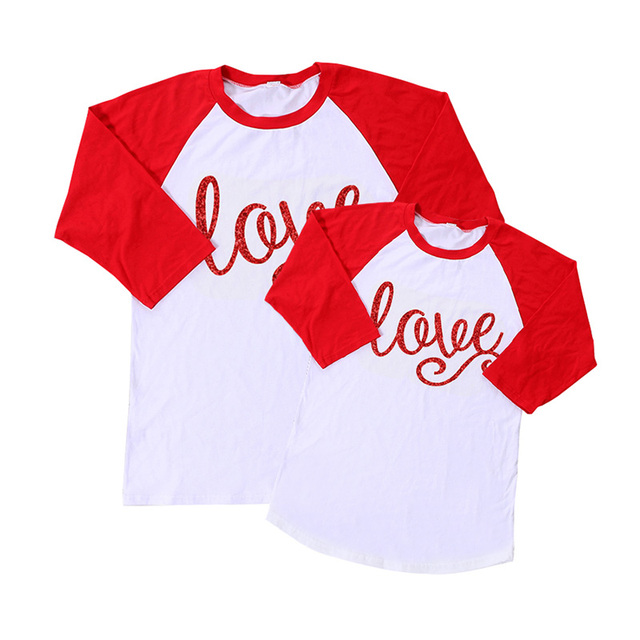 2017 Valentine Icing Ruffle Raglan Shirt Mommy And Me Clothes Outfits  Mother Daughter Top Shirts Spring 8dbd00643011