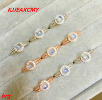 KJJEAXCMY Fine jewelry s925 Silver Inlay Natural Sri Lanka Blue Moonstone Ladies Ring