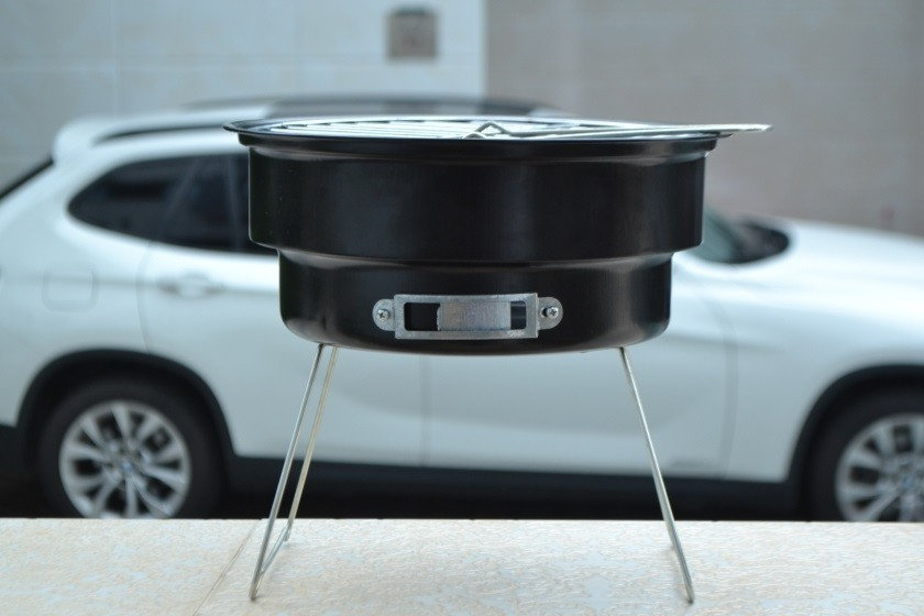 16 New Stainless steel outdoor household couple barbecue brazier charcoal portable mini bbq grill with shoulder cooler bags 8