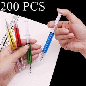 Image 1 - Pen Wholesale 200 pcs 0.7mm Steel Pen Syringe Magic Ballpoint Pen Blue ink Student Office Stationery Creative Gift Toy Pen