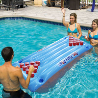 Pool Toys Swimming Float Inflatable With 24 Cup Holder Ice Bucket Beer Cooler Table Bar Tray Pool Party Pong Accessories boia