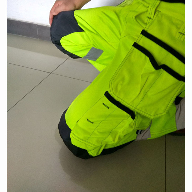 Reflective Men Working Pants High visibility Fluorescent Yellow Multi-pockets Work Trousers With Knee Pads Workwear Cargo Pants 4