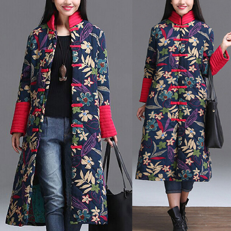 ФОТО New Winter Cotton Coat Long Single Breasted Wide-waisted Thick Folk Style Peony Flowers Female Clothing