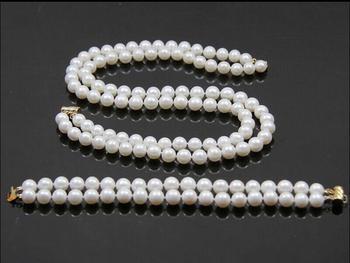 11ac711761a3 2row Noble 7-8mm Real collar de perlas cultivadas pendiente de la pulsera