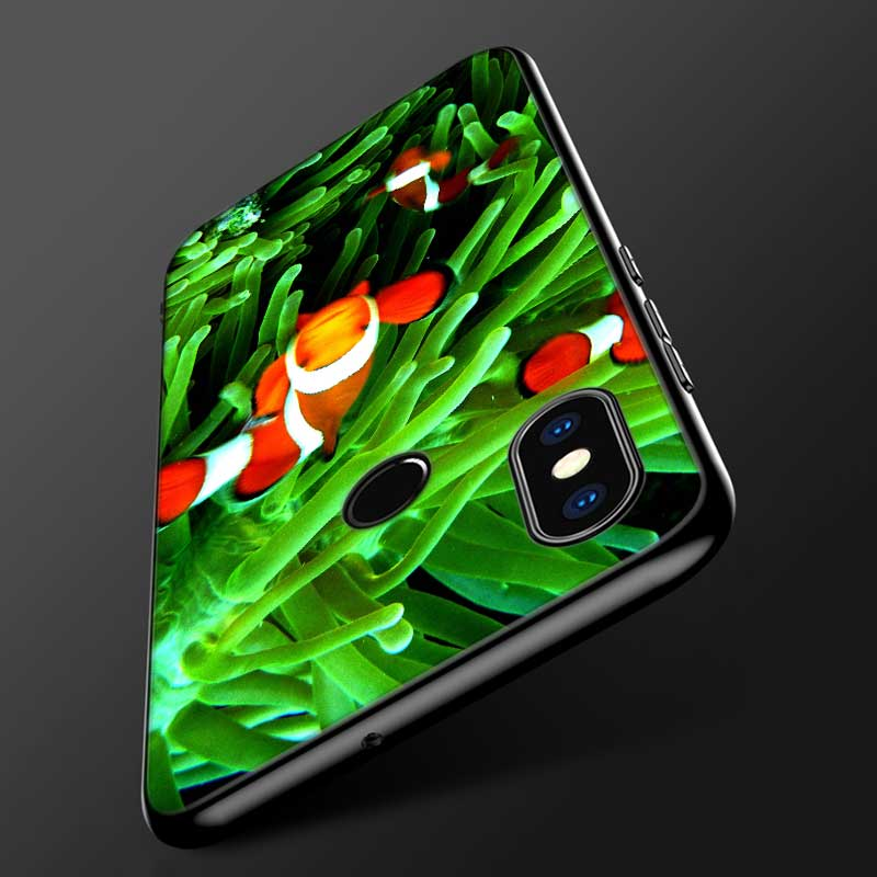 For Xiaomi 6 8 A1 A2 Redmi Note S2 4 4X 5 5A 6 6A Pro Lite Black Silicon Phone Case Green natural cute plant Style in Fitted Cases from Cellphones Telecommunications