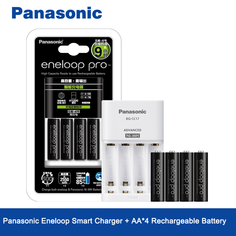 Original Panasonic 4PCS/LOT 1.2V 2550mAh Pre-Charged AA Rechargeable Batteries And Fast Battery Charger For AA/AAA