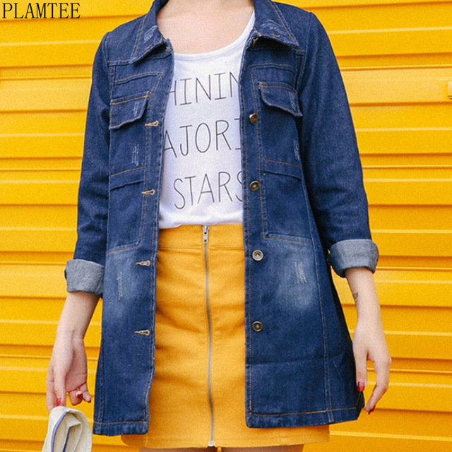 PLAMTEE S-3XL Plus Size Long Denim Jacket Women 2017 Solid Color Long  Sleeve Loose Bomber Jacket Fashion Women Basic Coat Female 2ad9e48d34