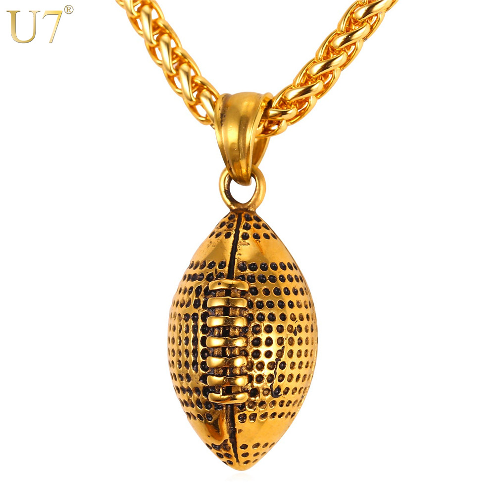 U7 Men Necklace Gold Color Stainless Steel Chain Pair Boxing Glove