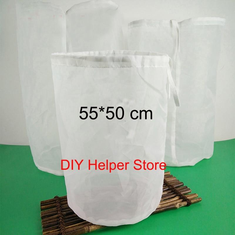 Filter bag 55*50cm 100M 10 gallon fine mesh HOP BAGS WINE JAM BEER MAKING HOME BREWING FOOD GRADE