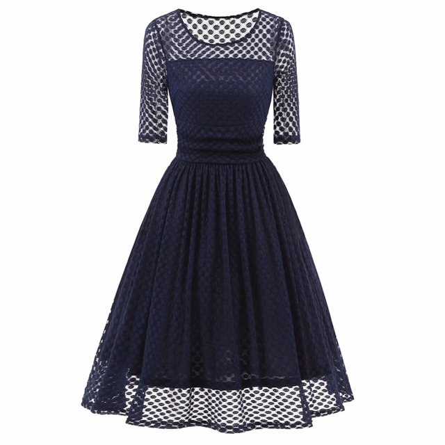 Vintage retro Hepburn style sexy lace dress see-through dots lace patchwork  50s 60s 70s elegant dresses robe feminino vestidos. Anniversary ... 5a8e8a676104