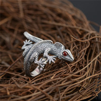 925 Silver Gecko Ring Red Cubic Zircon Stone 100% Real S925 Sterling Thai Silver Rings for Women Men Jewelry Adjustable Size