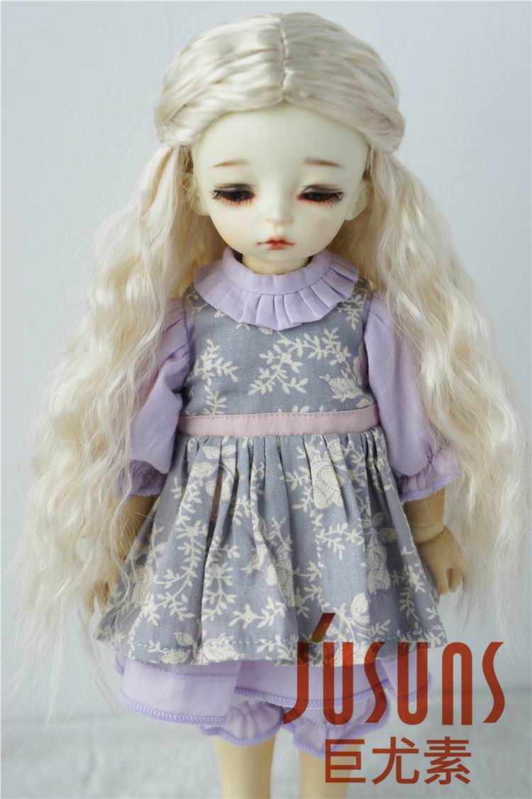 JD119 1/12 1/8 1/6 BJD doll wigs Long princess curly wig size 4-5 inch 5-6inch 6-7inch Synthetic mohair wig doll accessories adiors long neat bang instant noodles curly colormix synthetic wig
