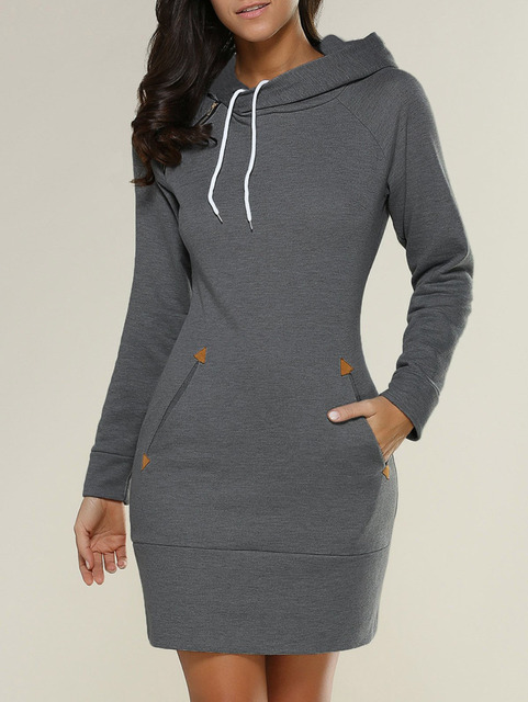 Vestidos 2018 Spring Women Oversized Casual Straight Solid Dress Ladies Long Sleeve Hooded Pockets Mini Dresses Plus Size S-5XL