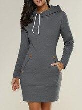 Vestidos 2018 Весна Для женщин более Размеры d Повседневное, платье дамы с длинным рукавом с капюшоном карманы Мини-платья плюс Размеры S-5XL