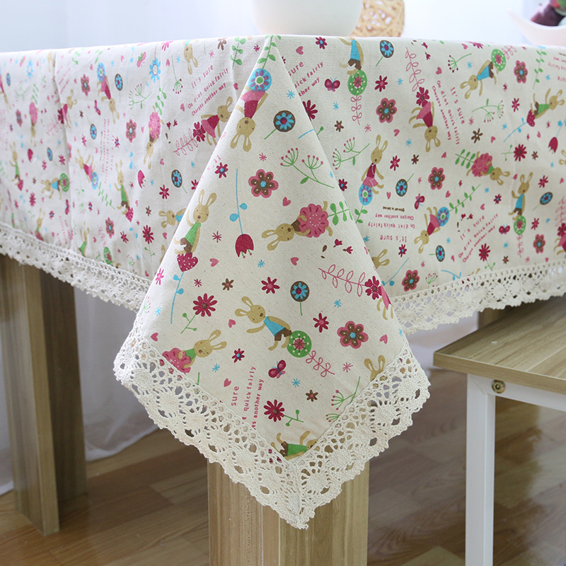 New Pastoral Lace Table Cloth Cotton Printed Rectangular tablecloth for wedding Restaurant Table Covers Party Picnic Decorations