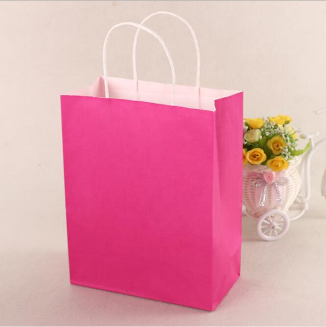 40pcs/lot Hot Pink Paper Bag With Handle Party Gift Paper Bags Wedding Favors Festival Gift Bag