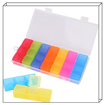7 dni Pillbox dozownik organizator Case z 21 przegródkami pigułka medycyna tabletka pigułka Box Multicolor pojemnik na leki tanie i dobre opinie JETTING Plastic pill case