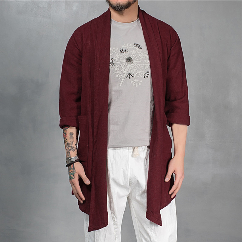 INCERUN 2018 Autumn Mens Trench Coat Long Cloak Cape Long Sleeve Irregular Cotton Casual Loose Vintage Outwear Jacket Plus Size