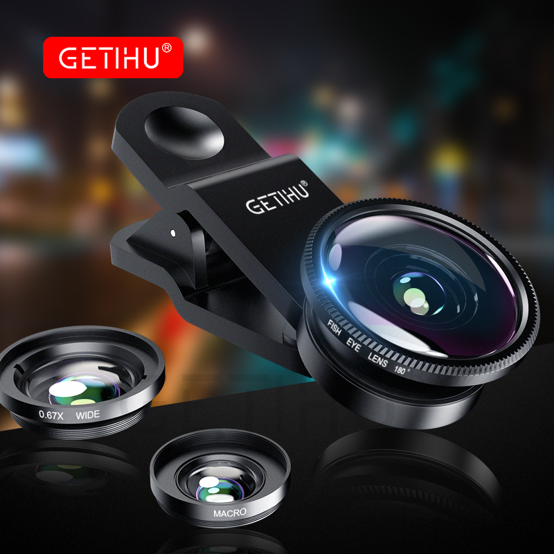 GETIHU Universal Wide Angle Macro Lenses Mobile Phone Lens Fisheye Camera Fish eye For iPhone 6 7 Smartphone Lentes Microscope