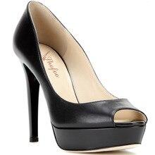 Frauen Black & Red Apricot Peep Toe Pleather Plattform Pumpt Schuhe für Frau, Plus größe 5-14, zapatos mujer tacon sapato feminino