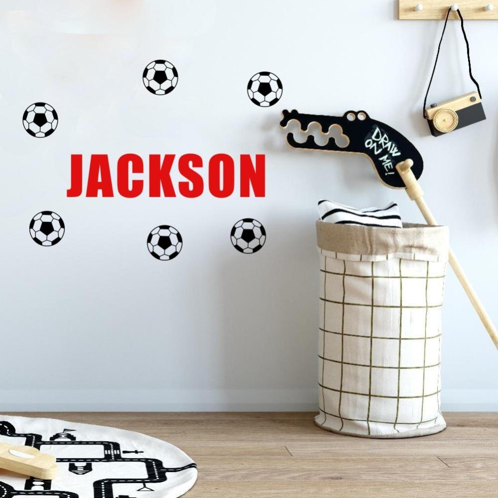 Personalizované Jakékoli jméno chlapce Vinyl Wall Sticker DIY Šest kusů Fotbal Art Wall Decals Kids Gift