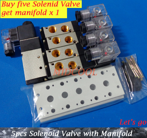 Free Shipping and Buy five, get one manifold 4V210-08,AC220V Boutique Solenoid Valve,5 way 2 position