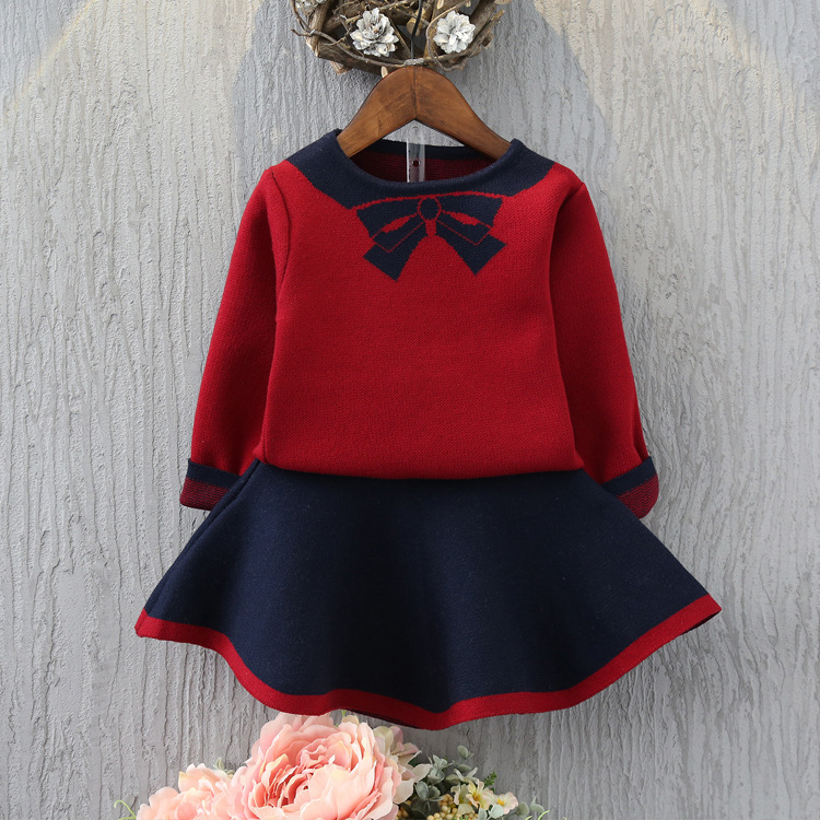 Kids Girl Sets New Children Suits Girls Print Bow Sweater +Knit Skirt 2Pcs Sets children's knitted Wool Skirt Suits Clothes 2018 girl summer sets new children s skirt 2pcs college chiffon clothing set white half sleeve blouse black long skirts suits