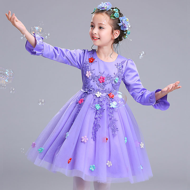 Long Sleeve Girls Dress Add Wool Warm Clothes Size 3 4 5 6 7 8 9 10 Y Flower Purple New Party Princess Knee Dresses Kids 18R1B