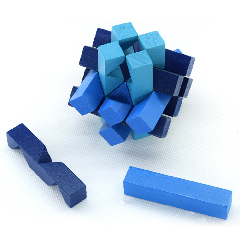 Blue Educational Puzzle Magic Cube Wooden Kong Ming Luban Lock Chinese Traditional Puzzle Brain Tease Early Learning Toy