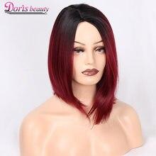 Doris bellezza Ombre Rosso Bob Parrucche per Le Donne Parrucca Sintetica  Breve Bionda Nero Marrone Parrucca 4a80c6b687c