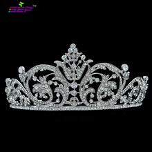 New Quality Clear Rhinestone Crystals Flower Tiara Crown For Bridal Women Wedding Hair Jewelry Accessories XBY158