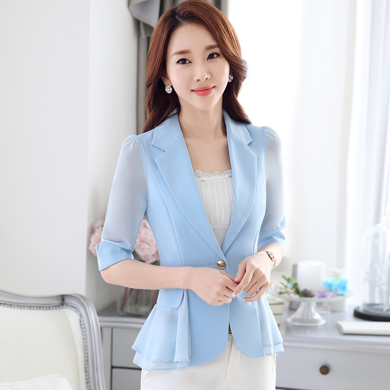 Plus Size 5XL 6XL Slim Blazer Women Ruffles 2019 Suit Jacket One Button Casual Puff Long-Sleeve Outerwear Female Blaser