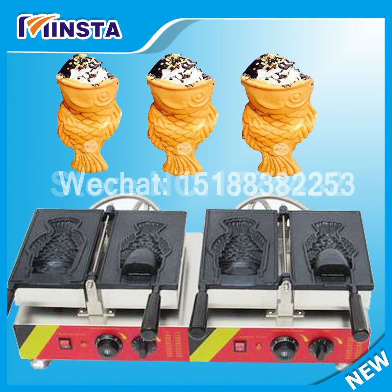 2017 electric fish waffle baker Open Mouth Fish Waffle Ice Cream Filling Taiyaki Grill Maker