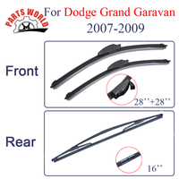 KIT Silicone Rubber Front And Rear Wiper Blade For Dodge Grand Caravan 2007 2009 Windscreen Wiper