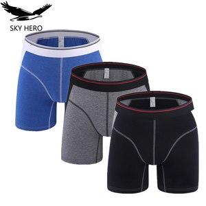 Image 1 - 3Pcs/lot Long Boxer Mens Underwear Boxers Hommes Cotton Panties For Man Underpants Men Cueca Masculina Plus Size Boxeshort