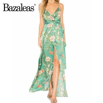 Bazaleas, vestido de satén sin mangas con Espalda descubierta, vestido de verano con estampado Floral verde, Vestidos a media pierna ajustado, Vestidos Vintage, triangulación de envíos