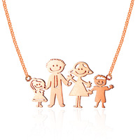 CMAJOR DIY Jewelry Custom Family Children Gifts 925 Sterling Silver Jewelry Loving Family Drawing Necklace Personalized